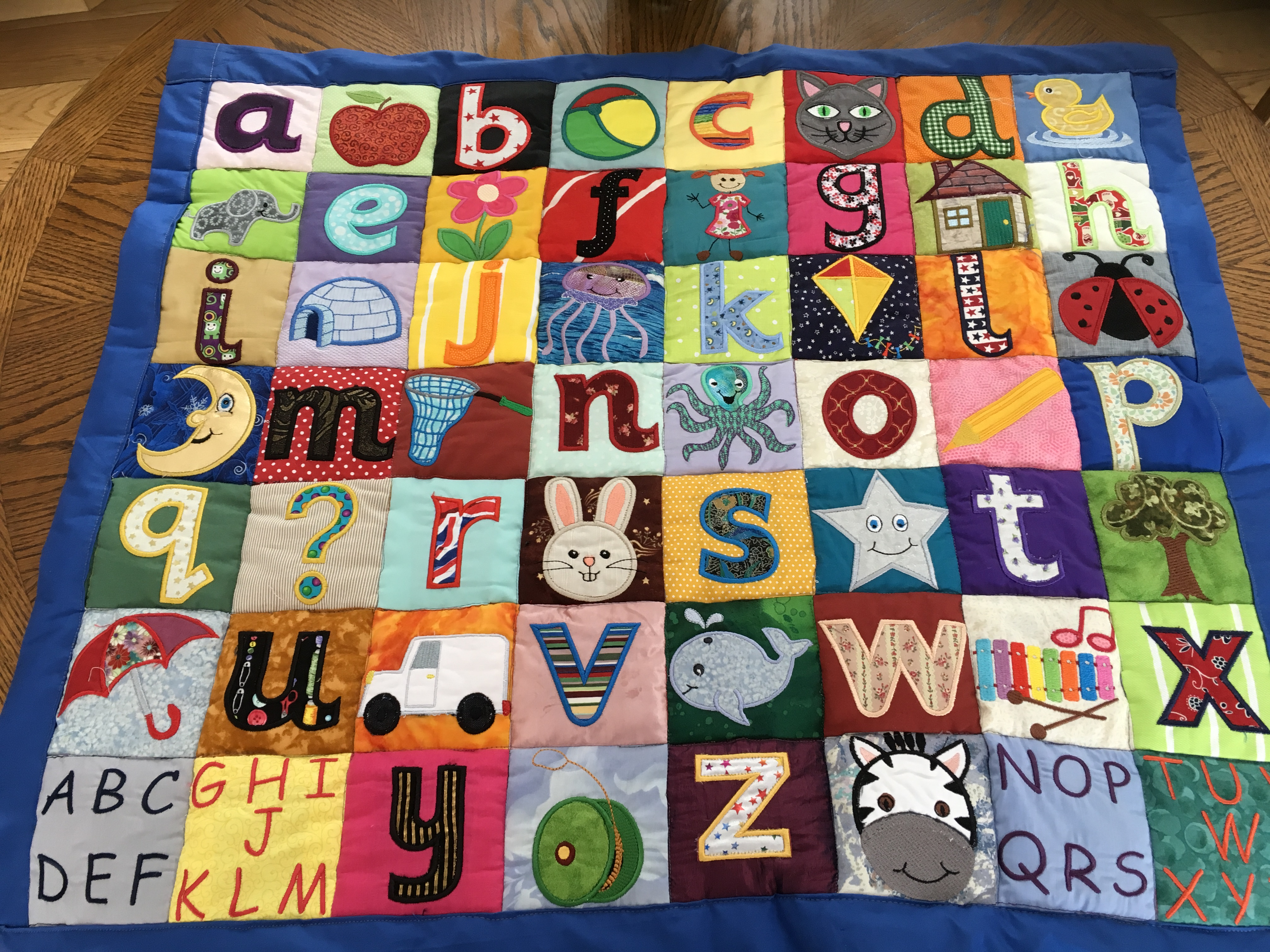 Free embroidery designs cute embroidery designs a wall hanging to teach the alphabet sounds letters and pictures are applique these are my own designs spiritdancerdesigns Images