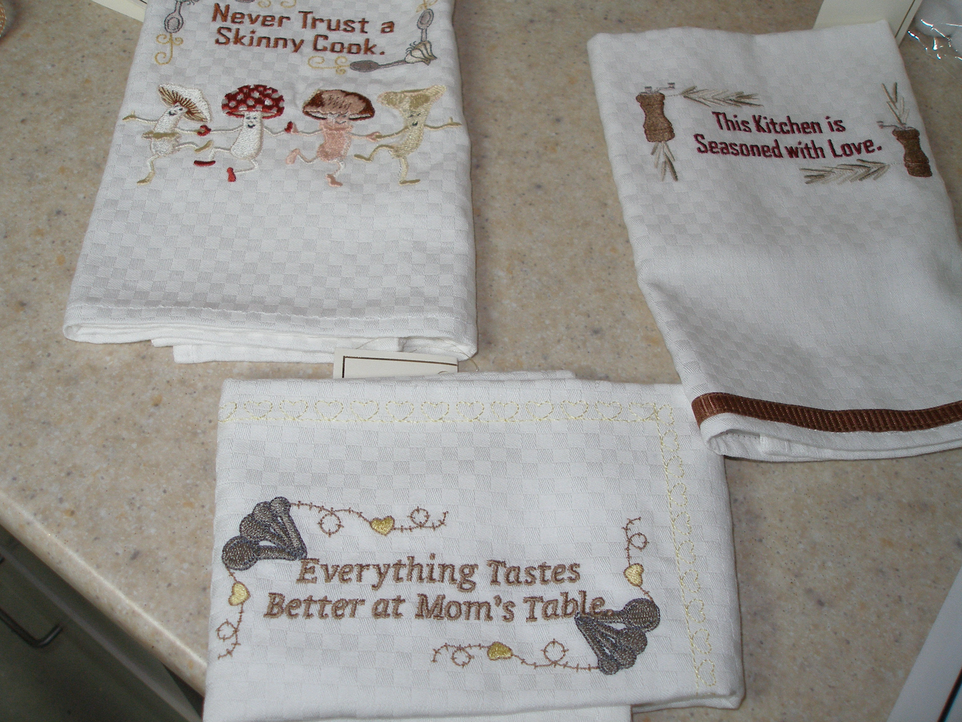 A Few Kitchen Towels, Mushrooms Design By Husqvarna, Other Two By Starbird ( Kitchen Sayings), Part 47