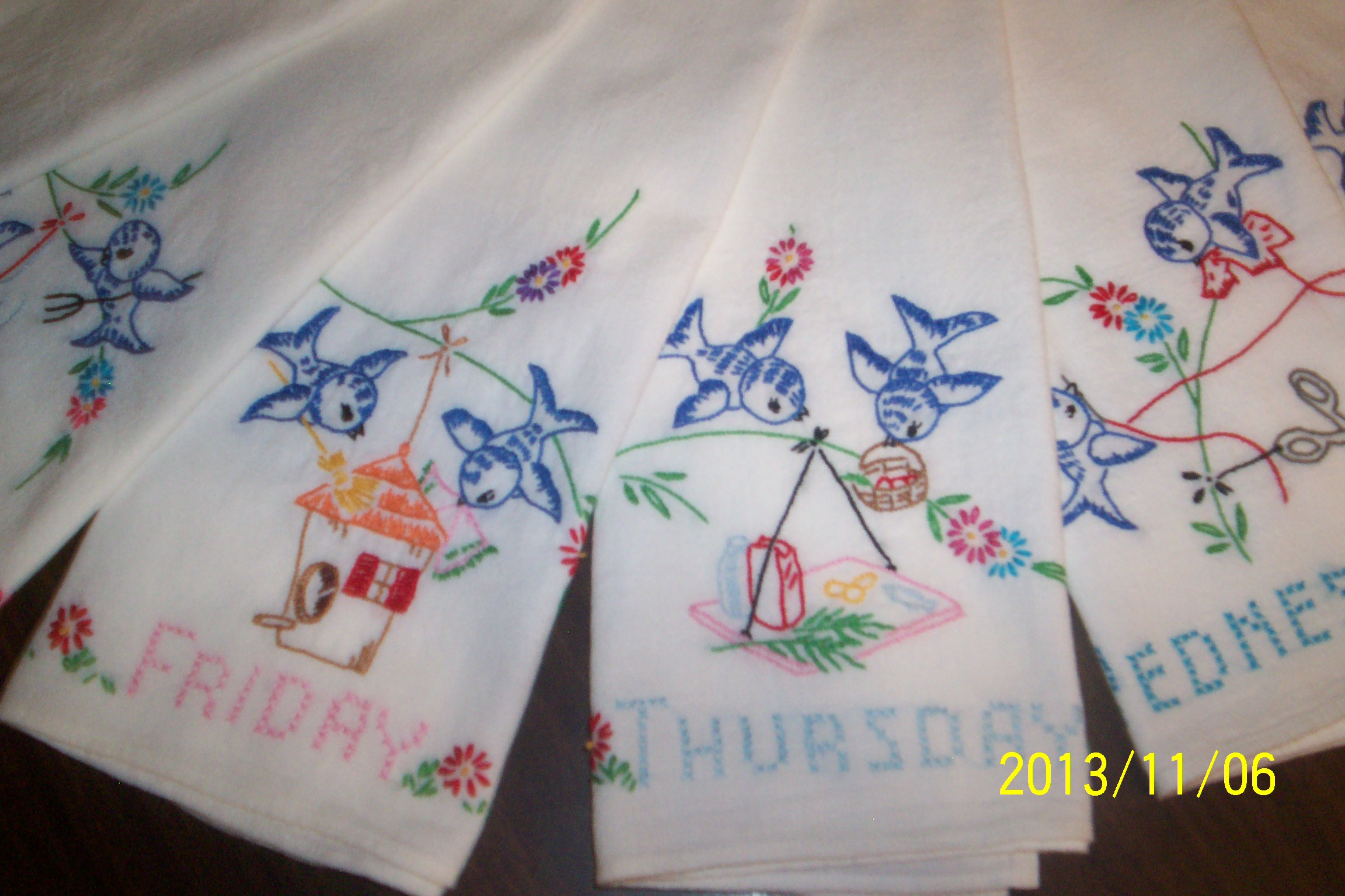 This Is A Set Of Hand Embroidered Flour Sack Towels That I Have Been  Working On Must Say Machine Embroidery Sure Is Faster And Easier
