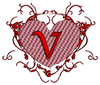 V Alphabet Images In Heart pes and hus format