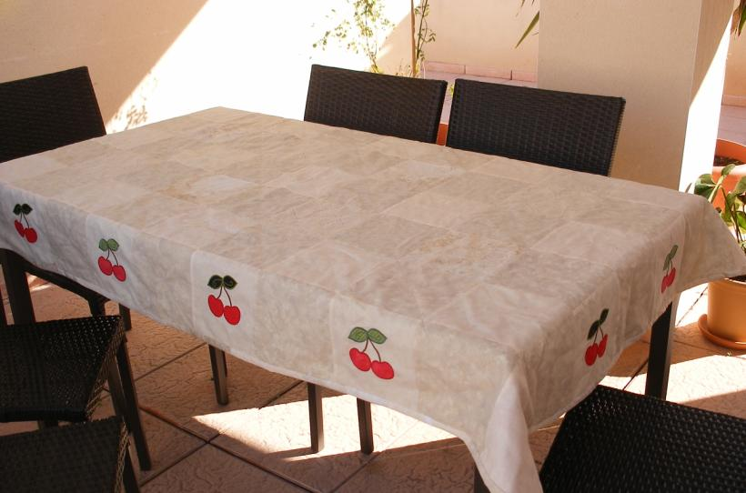 Tablecloth For Terass. Patchwork And The Cherries Applique  Machineembroidery. Was Ones A Free Design From The Everydaysite