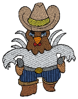 COWBOY ROOSTER 4x4 HOOP - Cute Embroidery