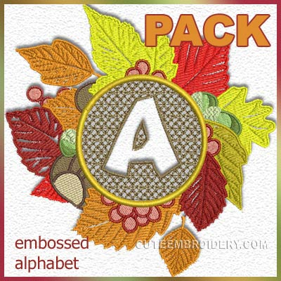 Embossed autumn font