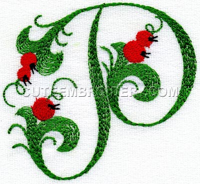 Letter P Cute Alphabets Embroidery Fonts