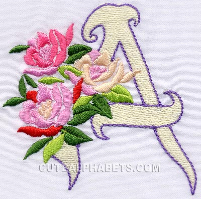 Download Roses font - Cute Alphabets - Embroidery Fonts