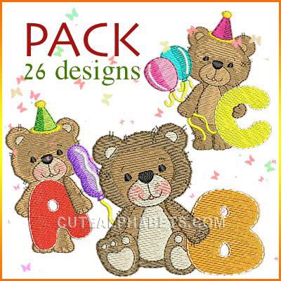 Birthday bear font