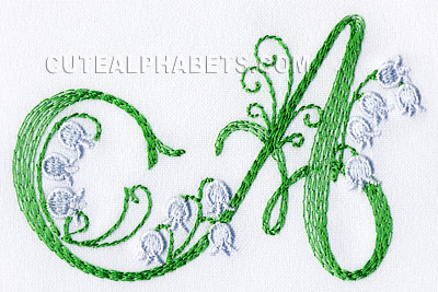 Lily of the valley font  Exclusive - Cute Alphabets - Embroidery Fonts