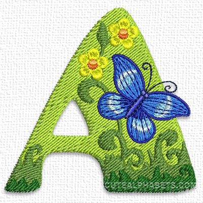 Spring butterfly font. Exclusive